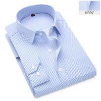 2018男士长袖条纹商务衬衫休闲职业工装衬衣免烫