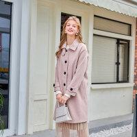 毛菇小象时尚毛呢外套女中长款冬2019新款粉色甜美chic呢子大衣