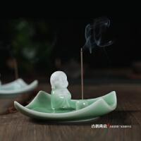 龙泉青瓷祈福香座 陶瓷香炉创意香槽檀香线香沉香薰炉香香插香托