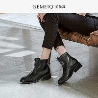 戈美其冬季新款保暖加绒短靴前拉链时尚女单靴马丁靴粗跟加棉裸靴