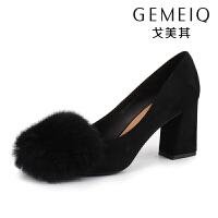 戈美其浅口单鞋粗跟秋季新款公主鞋甜美时尚绒面毛毛高跟鞋女鞋