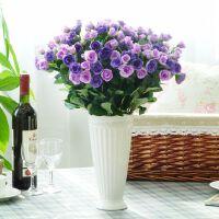 简约现代白色陶瓷花瓶仿真花假花玫瑰花艺套装装饰摆设件家居饰品