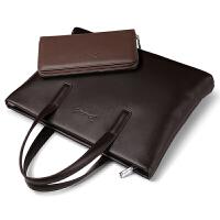 男士包包手提包手拿男包商务横款牛皮公文包休闲单肩斜挎文件包软