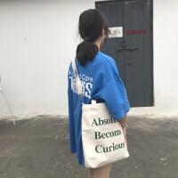 帆布包女单肩韩国简约百搭超火包chic斜挎包学生韩原宿ulzzang 米白色 绿字母