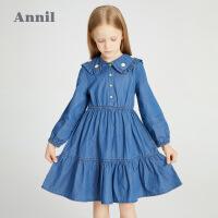 【2件4折价:147.6】安奈儿童装女童连衣裙长袖2021春季新款洋气小雏菊女孩牛仔裙纯棉