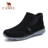 camel骆驼男鞋 秋冬新款保暖休闲鞋低帮加绒短靴反绒雪地靴