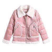 【3折到手价:165元】爱客粉色甜美可爱羊羔服女冬季新款加厚保暖短款毛领外套
