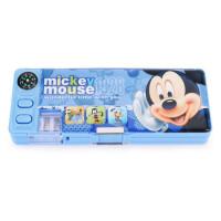 迪士尼DM28006 小学生文具盒 塑料男女童双面开铅笔盒 带笔削指南针