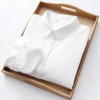2018秋冬新款加绒加厚娃娃领纯棉白色衬衫女长袖学生内搭打底衬衣 白色 花边领 加绒