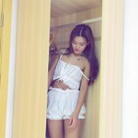 春夏女装韩版甜美性感蕾丝吊带背心睡衣睡裤两件套学生家居服套装 均码