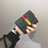 新款欧美复古小钱包女薄款2018新款韩版软皮夹迷你折叠卡包学生零钱袋 黑色