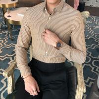 新款秋冬韩版潮流条纹衬衣英伦时尚修身男士长袖衬衫
