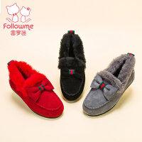 富罗迷秋冬季儿童鞋子加绒保暖女童二棉鞋毛毛鞋真皮豆豆鞋女童鞋