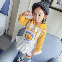 女童婴儿童装秋装2017新款女宝宝加绒连衣裙子加厚卫衣1-2-3岁