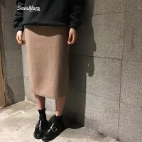 自制限量纯色毛呢裙韩版气质高腰半身裙2018简约中长裙女 卡其色 现货 S