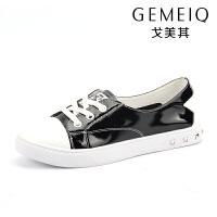 戈美其春季新款休闲浅口小白鞋百搭系带韩版女鞋平底学生板鞋漆皮