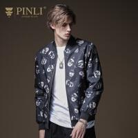 PINLI品立2020秋季新款男装印花棒球领短款棉衣外套男B203305039