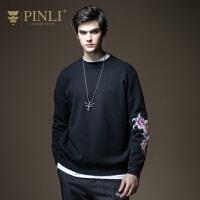 PINLI品立2020秋季新款男装国潮贴布绣落肩针织衫毛衣B203510674