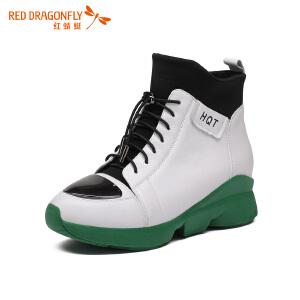 红蜻蜓女鞋冬季厚底韩版高帮鞋女舒适系带内增高休闲鞋女