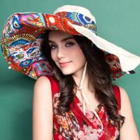 夏天女士遮阳帽可折叠太阳帽防紫外线户外大沿沙滩帽