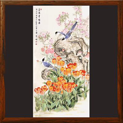 《美满幸福图》女工笔画协会委员,书画家协会一级美术师张一娜工笔国画【真迹R508】