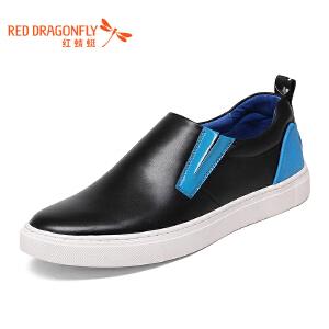 红蜻蜓男鞋新款休闲鞋透气休闲皮鞋男真皮圆头英伦鞋子潮