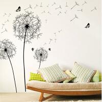 可移除DIY装饰墙贴寝室书房背景PVC贴纸蒲公英贴纸画卧室客厅d