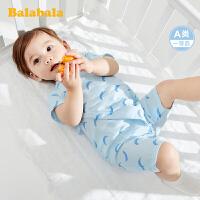 巴拉巴拉初生婴儿衣服新生儿连体衣宝宝睡衣夏装透气纱布和尚服棉