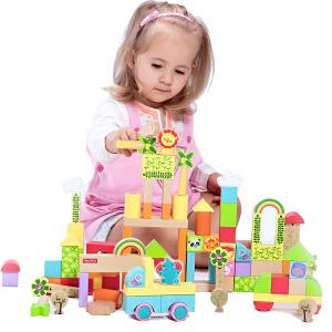 【当当自营】费雪 Fisher Price 100粒森林积木 大块动物植物益智智力木制玩具 FP6004B