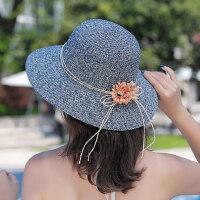 女士防�鹂烧鄣�海边凉帽 户外太阳帽度假草帽 女士大沿帽遮阳帽沙滩帽子