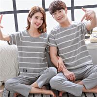 夏季纯棉情侣睡衣男士韩版短袖长裤甜美可爱全棉薄款家居服女套装