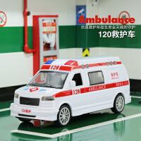 儿童仿真模型玩具救护车110公安特警车男女孩惯性小汽车120急救车