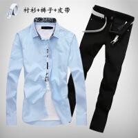 春夏季韩版长袖衬衫男士牛仔长裤子休闲潮流一套装寸衫衬衣服外套