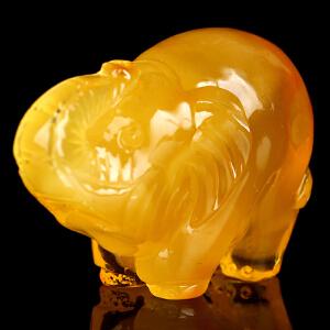 蜜蜡金绞蜜立体大象吊坠 重量12.98g(重量)