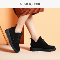 戈美其2019冬季新款圆头加绒短筒运动户外靴女平底中跟休闲女鞋子