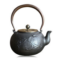 铸铁泡茶烧水壶煮茶器电陶炉茶炉功夫茶具瑞寿堂连年有余铁壶铸铁泡茶纯手工茶壶电陶炉礼品套装