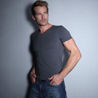 夏季男士短袖T恤修身V领休闲潮流半袖纯白色薄款打底衫针织衫新款