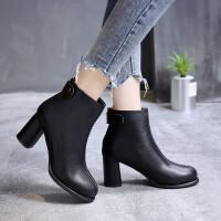 靴子粗跟短靴女春秋2018新款女靴加绒棉靴高跟百搭马丁靴冬季短筒