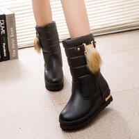 加绒加厚雪地靴女皮面防水厚底中筒靴冬季学生百搭保暖棉鞋女短靴