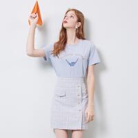 秋水伊人2020春新品印花圆领T恤格纹a字半身裙套装女