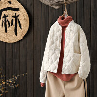 文艺宽松纯色短款羽绒服外套女冬季新品轻薄羽绒服面包服