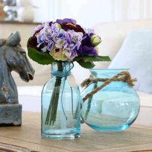 【每满100减50】幸阁 插花地中海贝壳麻绳玻璃瓶 饰家花瓶家居客厅插花摆件