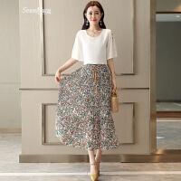 雪纺连衣裙女中长款2018夏季新款韩版修身套装裙子碎花两件套长裙 白色印花 XL