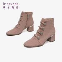 莱尔斯丹2019秋冬新款时尚方头粗跟拉链短靴女靴AT49501