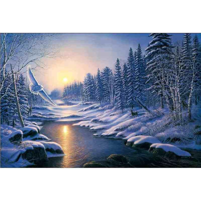 1000片木质拼图定制1500唯美风景油画美丽冰雪