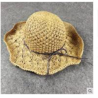 手工勾针女草帽大沿帽折叠沙 滩帽海边渡 假蝴蝶结简约 遮阳帽太阳帽