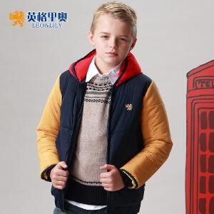 英格里奥男童儿童棉服新款保暖加厚棉服时尚英伦学生拼接棉衣1566