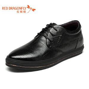 红蜻蜓男士皮鞋 秋冬新款日常休闲套脚男鞋 真皮保暖男棉鞋单鞋