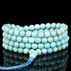 原矿高瓷高蓝绿松石108佛珠手链 直径5.5mm 重21.45g