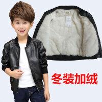 男童装皮衣加厚外套童装儿童秋季皮夹克PU男生夹克宝宝加绒外衣